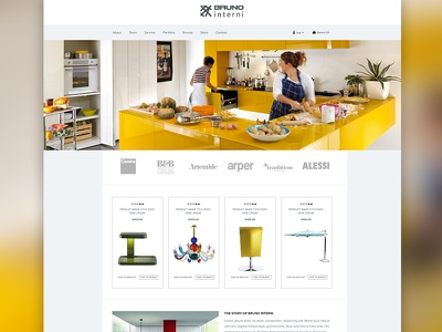 Bruno Interni Concept 2 website interior web design interior design architecture yellow