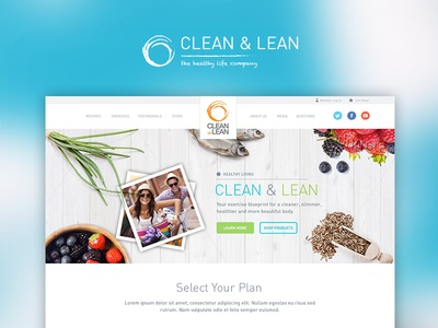 Clean And Lean Homepage Concept clean food healthy health fresh diet exercise fitness