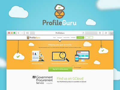 ProfileGuru Homepage saas profile guru orange software website web design logo quirky guru guru logo cloud cloud logo