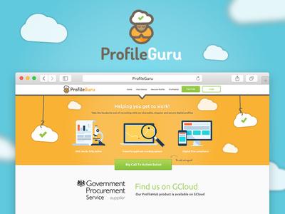 ProfileGuru Homepage saas profile guru orange software website web design logo quirky guru guru logo cloud cloud logo