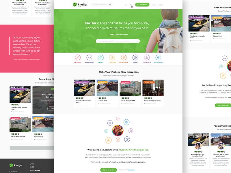 KiwiJar Web App Landing Page kiwijar web app travel museum website landing page