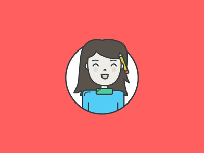 A little self portrait red happy self-portrait portrait arty female avatar