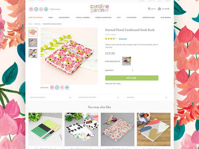 Caroline Gardner Individual Product Page floral cards e-commerce product caroline gardner