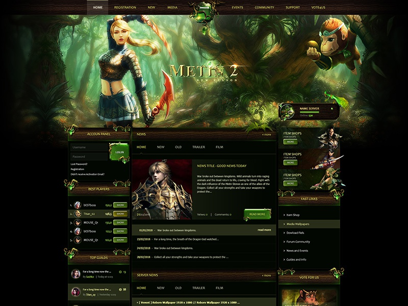 Metin2 Forest Website Template lineage muonline fantasy mmorpg game metin2