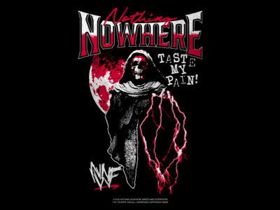 Nothing, Nowhere - NNWF texture lightning typography type illustration reaper skull wrestling vintage