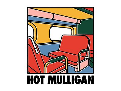 Hot Mulligan - Train linework typography type train illustration