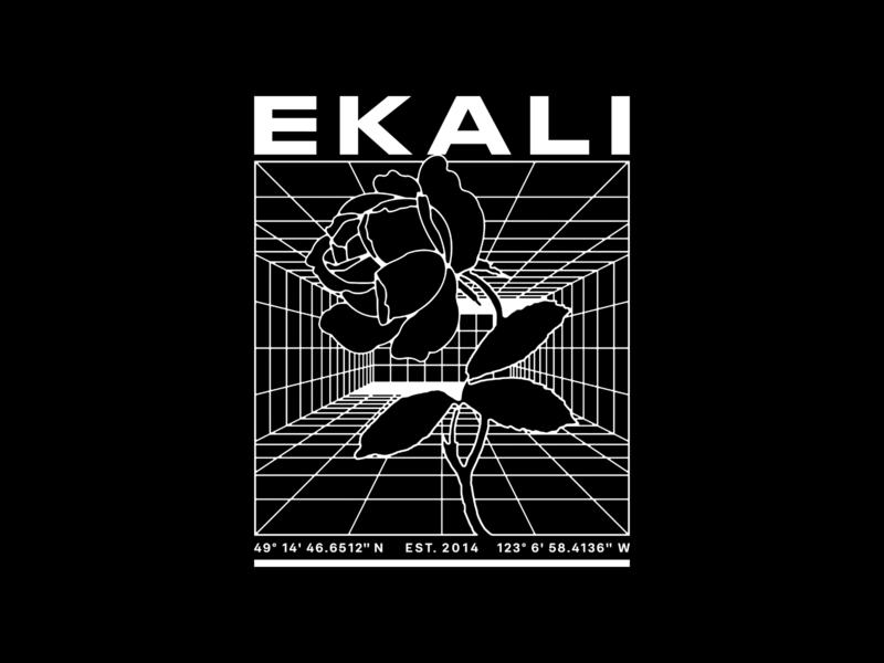 Ekali - Cage typography type wireframe grid illustration rose flower