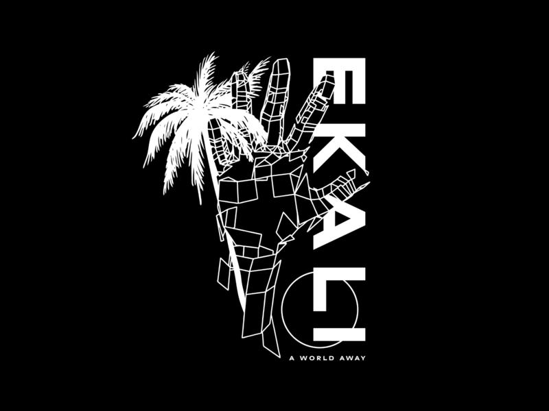 Ekali - A World Away geometry wireframe typography type hand illustration palm tree