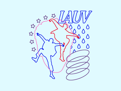 Lauv - Dance typography type linework abstract rain stars illustration silhouette