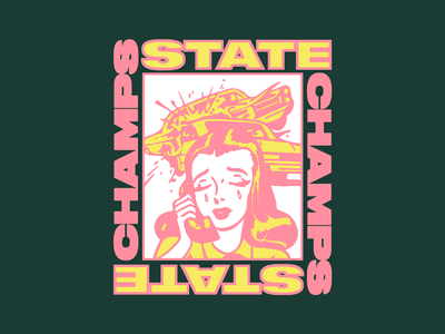 State Champs - Crying Out Loud apparel layout typography type crash car woman illustration