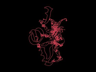 Guccihighwaters - Joker typography type skull clown joker illustration