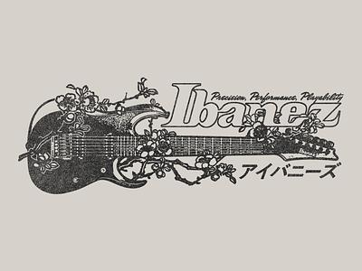 Ibanez - Blossoms japan texture illustration typography type katakana kanji guitar flower