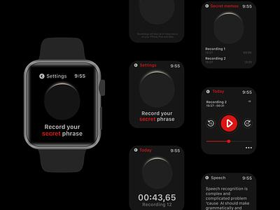 Apple Watch Voice App - Secret Memo vector dictate voice memo application app figma ui ux apple watchos ios app design apple watch design apple watch