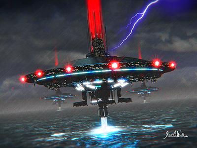 Harvesters 2 concept art syfy fantasy outerspace futuristic 3d illustration science fiction illustration sci-fi