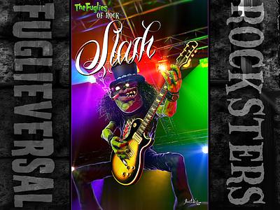Slash zbrush cinema 4d character design caricature rockstar slash fuglieversal the fuglies
