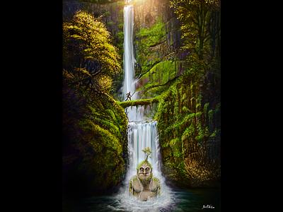 Sleeping Giant - Concept Art digital illustration concept art illsutartion waterfalls medieval giant