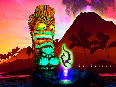 Big Tiki 3d tiki 3d cartoon 3d art 3d tropical gods monoa island ocean hawaii tiki
