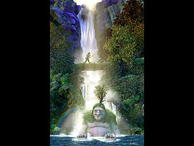 Sleeping Giant - 3d Illustration digital illustration concept art illsutartion waterfalls medieval giant