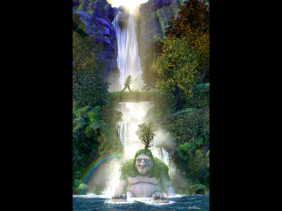 Sleeping Giant - 3d Illustration digital illustration concept art illsutartion waterfalls medieval giant