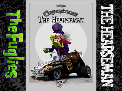 The Hearseman old school art photoshop ink illustration art character design weird-ohs odd rods rat fink characters the fuglies hotrod monsters