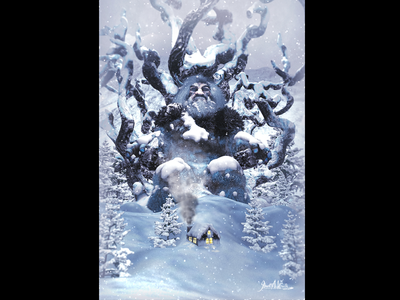 The Lost King of the Frost Giants - Full Image digital illustration concept art fantasy illustration middle earth medieval giant