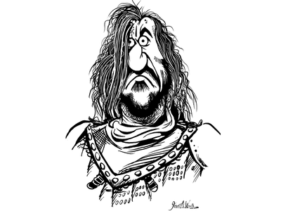 The Hound cartoon character caricature illustration games of thrones got the hound