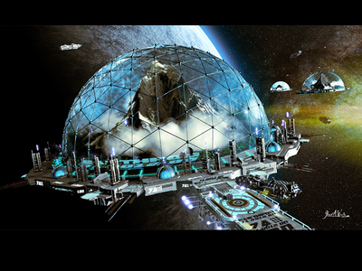 EARTHPOD syfy fantasy outerspace futuristic 3d illustration science fiction illustration sci-fi