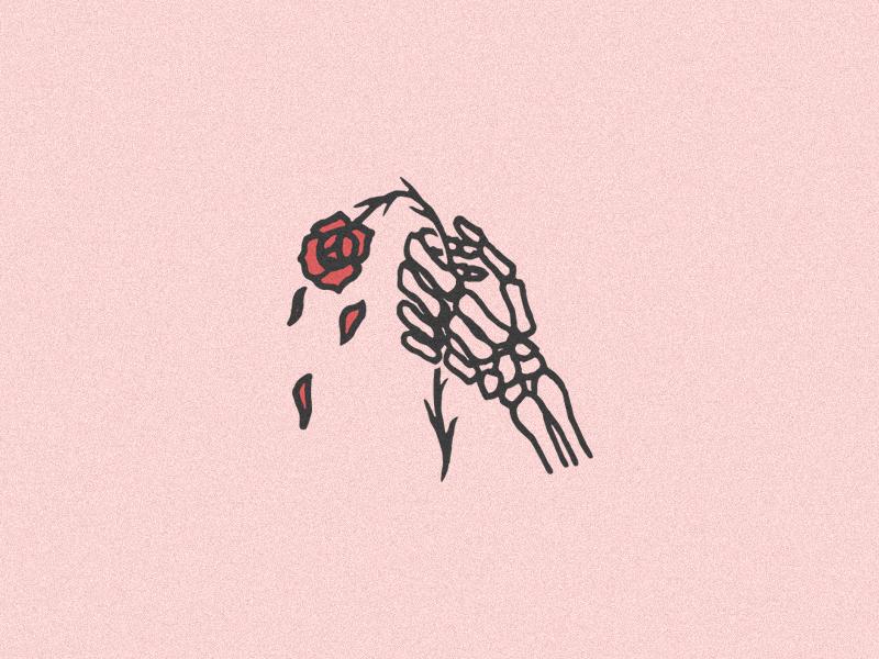 Hopeless logo icon rough simple illustration linework traditional rose flower hand skeleton