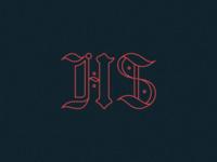 HS initials anagram logo illustration handdrawn simple linework typography type blackletter hs