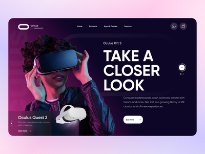 Oculus virtual reality vr glasses flat clean minimal ux ui  ux design main page product design design interface graphic design branding animation ui