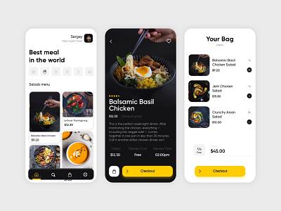 Restaurant App ui restaurant app bag meal dishes menu card menu bar restaurant mobile app design mobile ui ui  ux design product design main page interface design