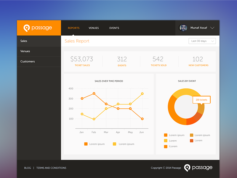 Passage Merchant Dashboard dashboard orange black gray