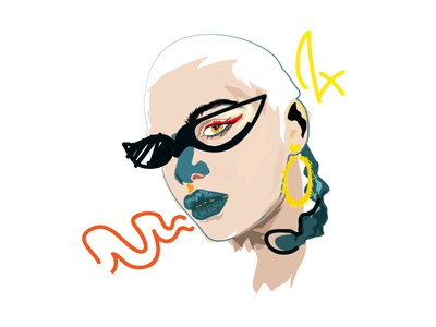 Jingles uknown earings 80s glasses lips raw