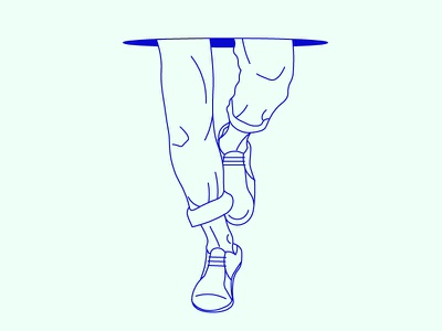 fine lines line art legs feet vector illustration