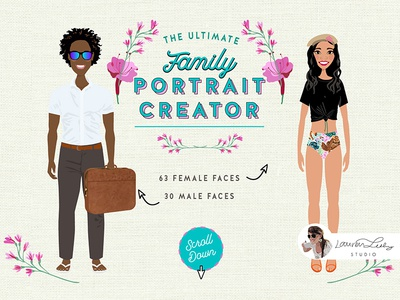 Family Summer Beach Portrait Creator family portrait clip art postcard beach illustration summer illustration beach summer character design character avatar generator avatar