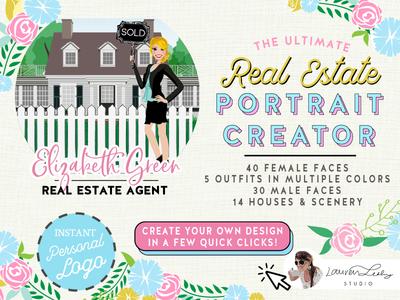 Real Estate Portrait Creator sales woman sales man clip art sales illustration real estate illustration house sale real estate character design character avatar generator avatar