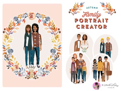 Portrait Creator Fall Outfits Family autumn illustration postcard family portrait clip art character design character illustration autumn fall avatar generator avatar