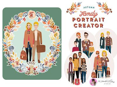 Portrait Creator Fall Outfits Family autumn illustration postcard family portrait clip art character design character illustration autumn fall avatar generator avatar