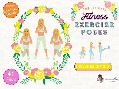 Exercise Fitness Poses Female fitness mockup fitness gym logo gym gym icons exercise exercise icon clip art character design character avatar generator avatar