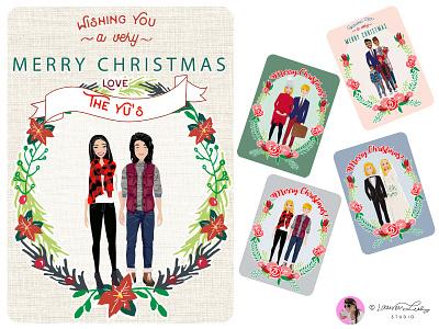 Christmas Family Portrait Builder christmas illustration postcard family portrait clip art character design character illustration winter christmas avatar generator avatar