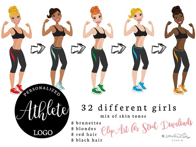 Athlete Clip Art avatar character logo african american woman illustration vector drawing exercise gym work out clip art female athlete
