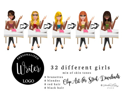 Writer Illustration | Blogger Logo | Girl at Desk Avatar