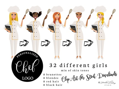 Female Chef Clip Art | Baker Illustration