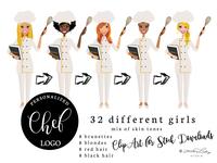 Female Chef Clip Art | Baker Illustration