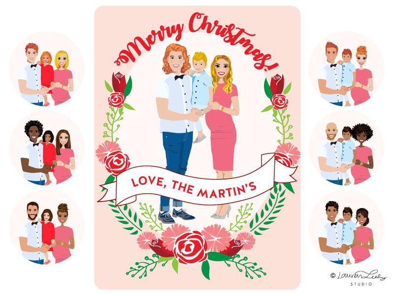 Christmas Card Illustration Portrait Builder | Holidays by Lauren ...