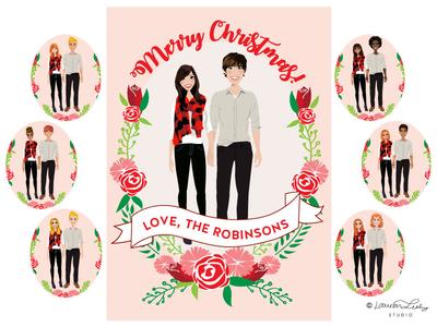 Christmas Card Illustration Portrait Builder   Holidays