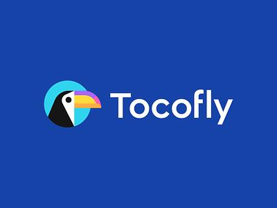 tocofly startup iconic animal geometric abstract identity symbol logo vacation trip mascot bird mark toucan toco travel agency logo design branding