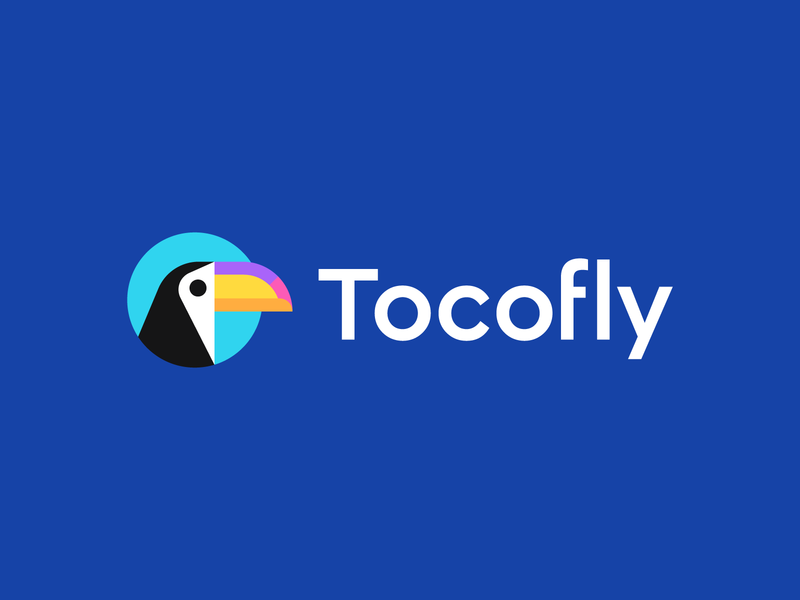 tocofly startup iconic animal geometric abstract identity symbol logo vacation trip mascot bird mark toucan toco travel agency logo design branding