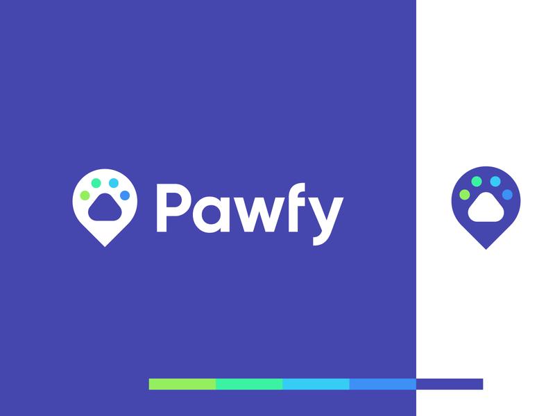 pawfy location map pointer animal foot digital identity branding logo paw