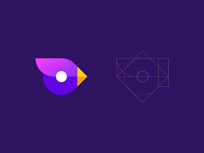 bird geometric logo logo design process gradient mascot modern animal identity mark symbol logo branding bird logo geometry guides construction bird